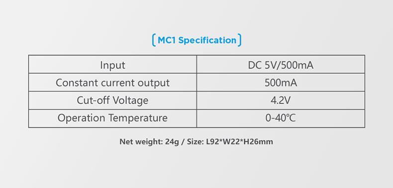 Xtar MC1 Specs