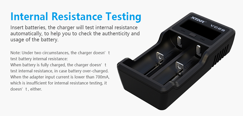 VC2s Xtar Internal Resistance Tested