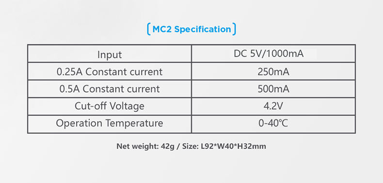 XTAR MC2 Specifiations