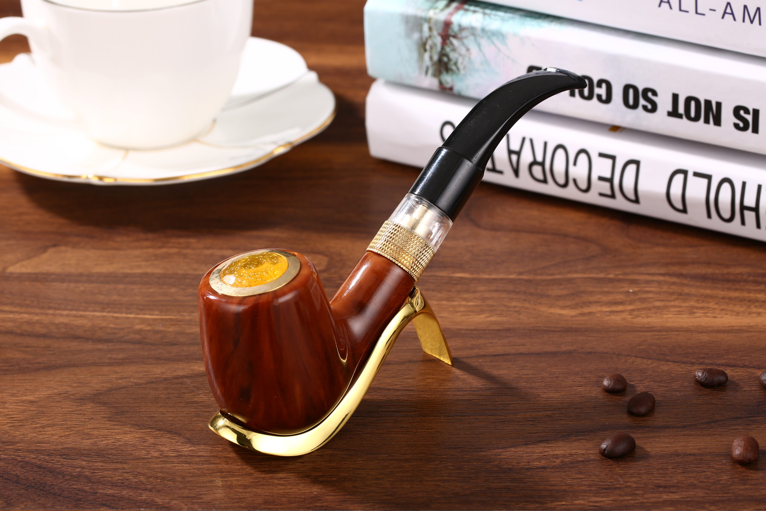 Executive ePipe Electronic Pipe Vapcig Replica Wood In Stand