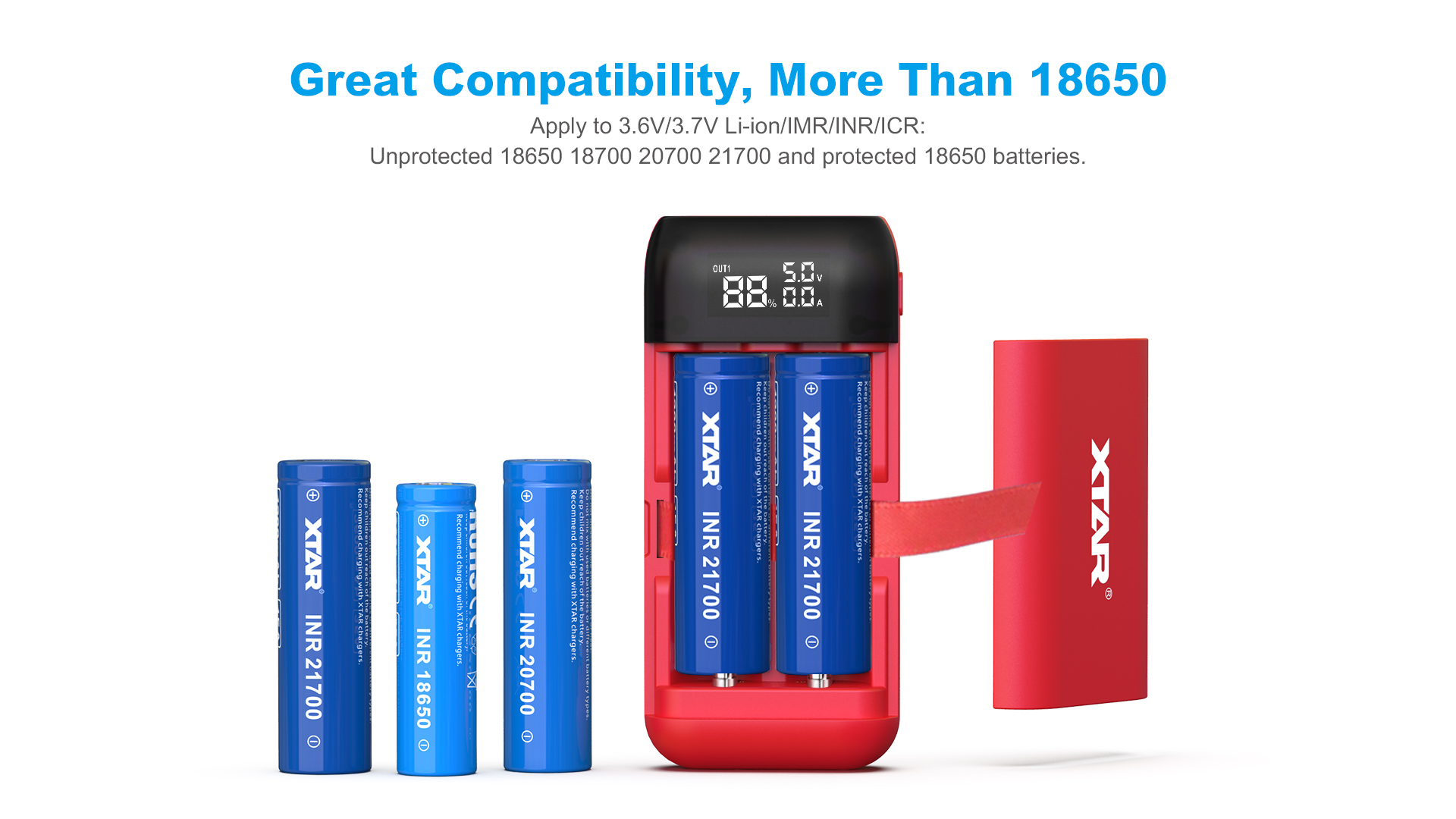 PB2s Powerbank Charger Different Battery Types